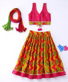 Exclusive from Jaipur Sleeveless Designer Choli Lehenga And Dupatta Set - Dark Pink Multi Color