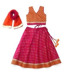 Exclusive From Jaipur Lehenga Choli With Dupatta Set - Orange Pink