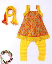 Exclusive from Jaipur Printed Kurti Churidar With Dupatta Set - Yellow And Orange
