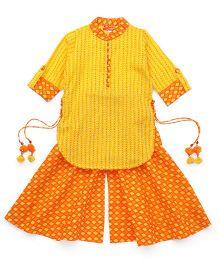 Exclusive from Jaipur Kurti & Palazzo Ethnic Set - Yellow & Orange