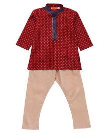 Exclusive from Jaipur Kurta Pajama Set - Maroon Beige
