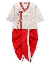 Exclusive from Jaipur Full Sleeves Kurta Dhoti Set - Red And White