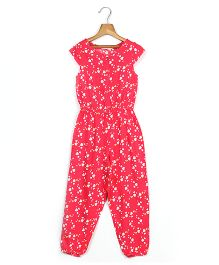 Beebay Short Sleeves Jumpsuit Heart Print - Pink