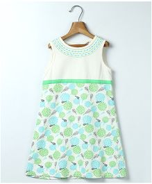 Beebay Sleeveless Frock Floral Print - Green Off White