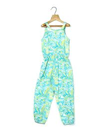 Beebay Sleeveless Printed Jumpsuit - Sea Green Yellow