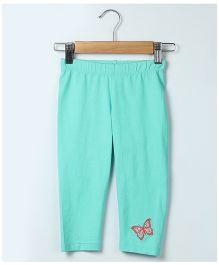 Beebay Full Length Leggings Butterfly Embroidery - Sea Green