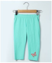 Beebay Full Length Leggings Butterfly Embroidery - Sea Green