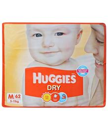 Huggies Dry Diapers Medium - 62 Pieces