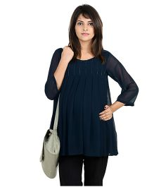 9teenAGAIN Three Fourth Sleeves Maternity Top All Over Pleated - Navy