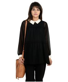 Full Sleeves Tiered Lace Edging Maternity Blouse - Black & White