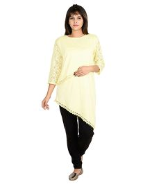 9teenAGAIN Three Fourth Sleeves Asymmetrical Nursing Top - Yellow