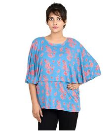 9teenAGAIN Umbrella Sleeves Printed Cape Nursing Top - Blue