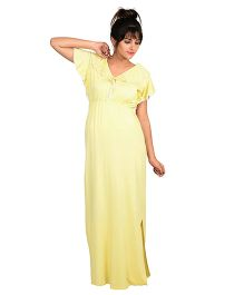 9teenAGAIN Half Sleeves Ruffled Lounge Nursing Maxi Dress - Yellow