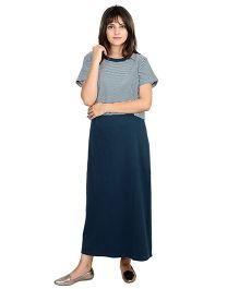 9teenAGAIN Half Sleeves Calf Length Stripe Nursing Dress - Navy