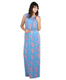 9teenAGAIN Sleeveless Floral Print Nursing Maxi Dress - Blue