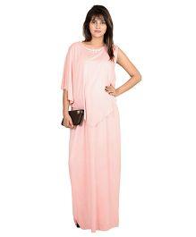 9teenAGAIN Asymmetrical Cape Nursing Maxi Dress - Peach