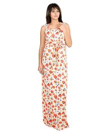 9teenAGAIN Sleeveless Cherry Print Knotted Casual Nursing Dress - Cream & Red