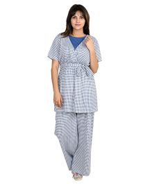 9teenAGAIN Gingham Check Print Nursing Night Suit - Blue