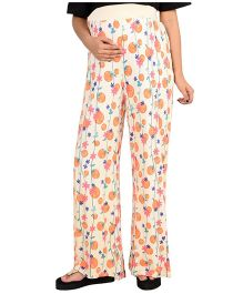 9teenAGAIN Cherry Print Maternity Leisure Palazzo Pants - Yellow