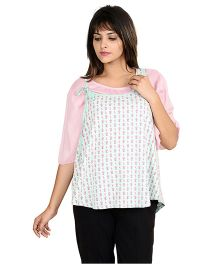 9teen Again Three Quarter Sleeves Printed Maternity Top - Pink