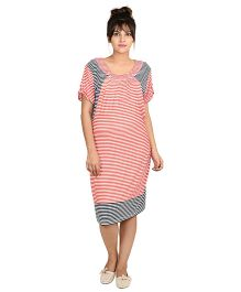 9teen Again Half Sleeves Maternity Dress Stripes Print - Red