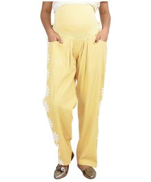 9teen Again Maternity Trouser With Floral Lace - Yellow