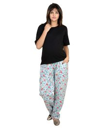 9teenAGAIN Floral Printed Imported Elastic Maternity Bottoms - Blue