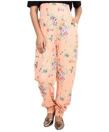 9teenAGAIN Floral Printed Imported Elastic Maternity Trouser - Peach