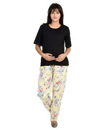9teenAGAIN Floral Printed Imported Elastic Maternity Trouser - Yellow