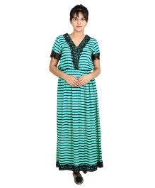 9teenAGAIN Stripes Print Nursing Dress - Green