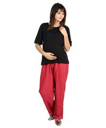 9teenAGAIN Imported Elastic Lace Fabric Maternity Trouser - Red
