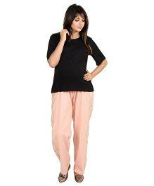 9teenAGAIN Printed Imported Elastic Maternity Trouser - Peach