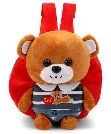 Plush School Bag Teddy Bear Applique Red - 9 Inches