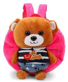 Plush School Bag Teddy Bear Applique Dark Pink - 9 Inches