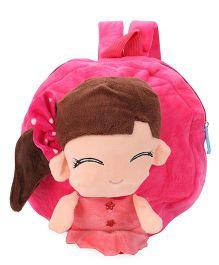 Plush School Bag Doll Design Dark Pink - 9 inches