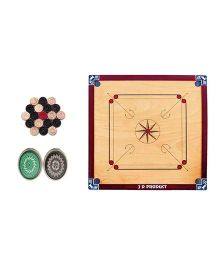 JD Sports Wooden Carrom Board Full Size With Coins - Cream And Red