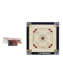 JD Sports Small Carrom Board With Coins - Cream And Black