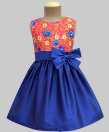 A.T.U.N Floral Embroidered Dress With A Bow - Coral & Navy Blue