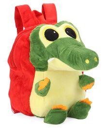 Plush School Bag Crocodile Design Red - 9 inches