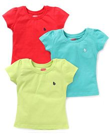 Babyhug Short Sleeves Top Pack of 3 - Red Lemon Yellow Green