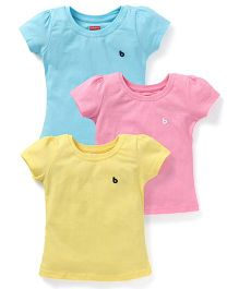 Babyhug Short Sleeves Top Pack of 3 - Pink Yellow Sky Blue
