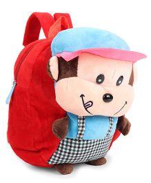 Plush School Bag Monkey Design - Red