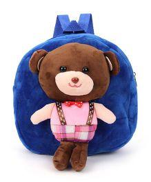 Plush School Bag Teddy Bear Design Royal Blue - 10 inches