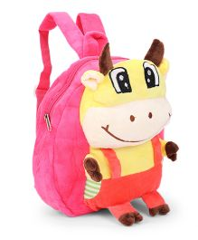Plush School Bag Ox Design Pink Red - 9 inches