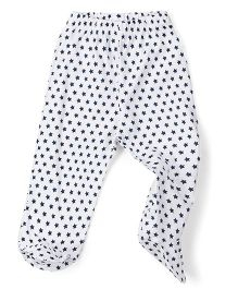 Babyhug Bootie Leggings Allover Star Print - White & Navy Blue
