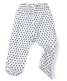 Babyhug Bootie Leggings Allover Star Print - White & Navy Blue