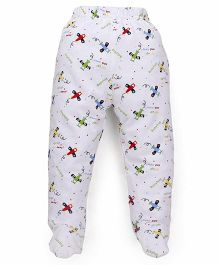 Babyhug Bootie Leggings Allover Aeroplane Print - White