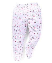 Babyhug Bootie Leggings Allover Floral Print - White And Pink