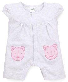 Babyhug Short Sleeves Romper Kitty Patch - Grey