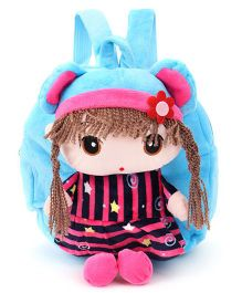 Plush Doll Design School Bag Blue Pink - 9 inches